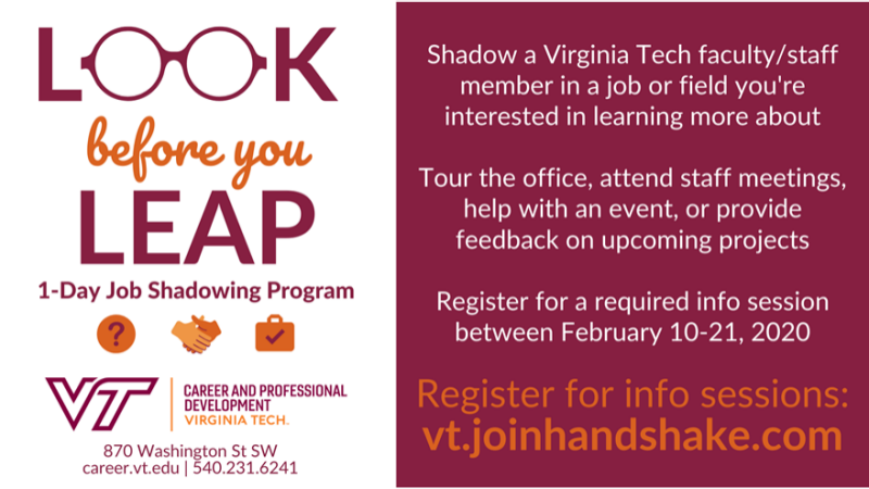 Look Before You Leap 1-day job shadowing program