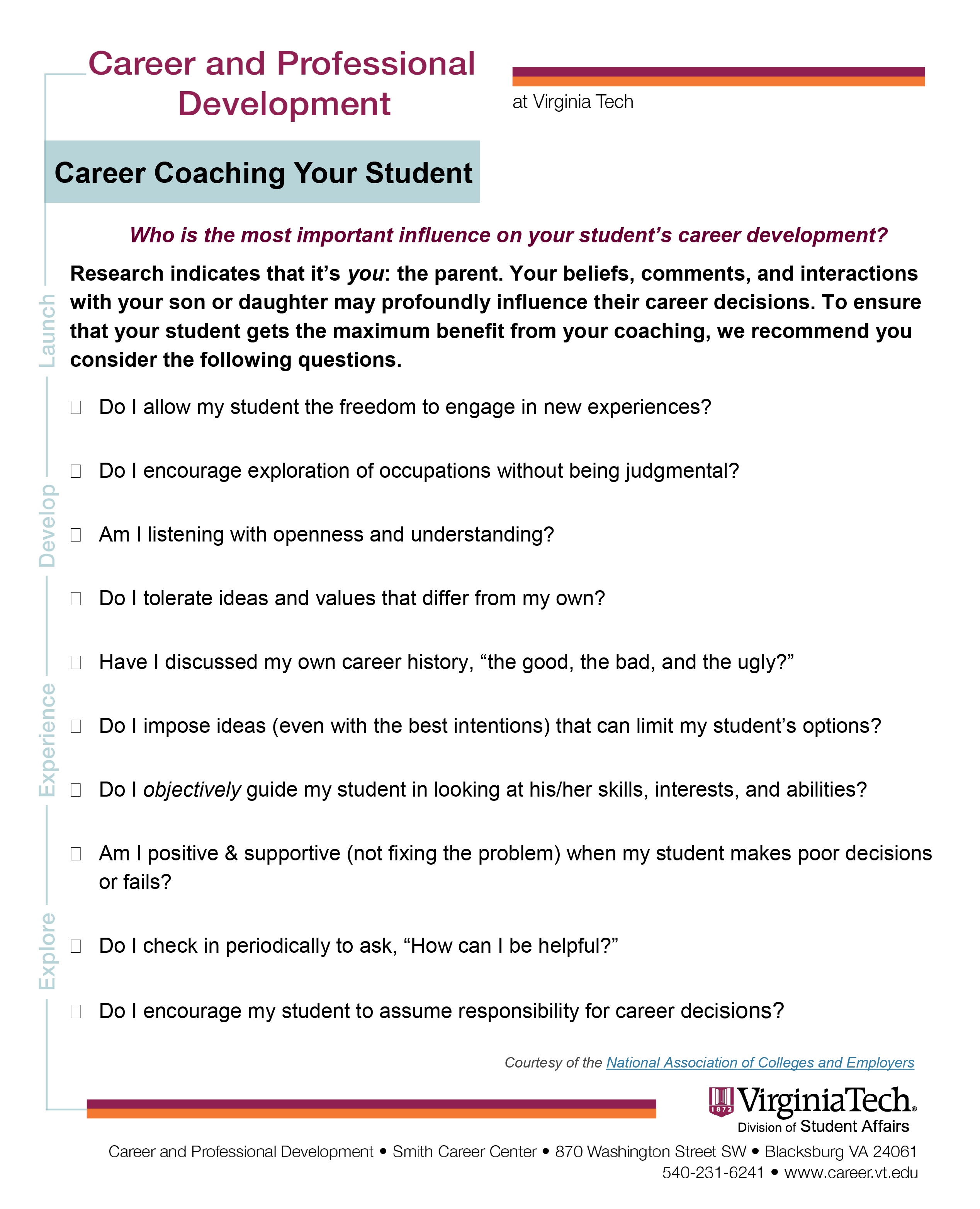 Career coaching your student